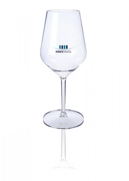 Bruchsicheres Weinglas mit Aufdruck